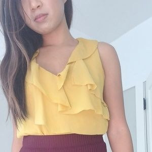 Classiques Entier Canary Yellow Silk Ruffle Blouse